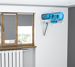 Krok 1  System montuje się w otworze o odpowiedniej średnicy w górnej części ściany przylegającej do ulicy, w odległości co najmniej 100-150 mm od sufitu lub ściany, metodą wiercenia diamentowego.