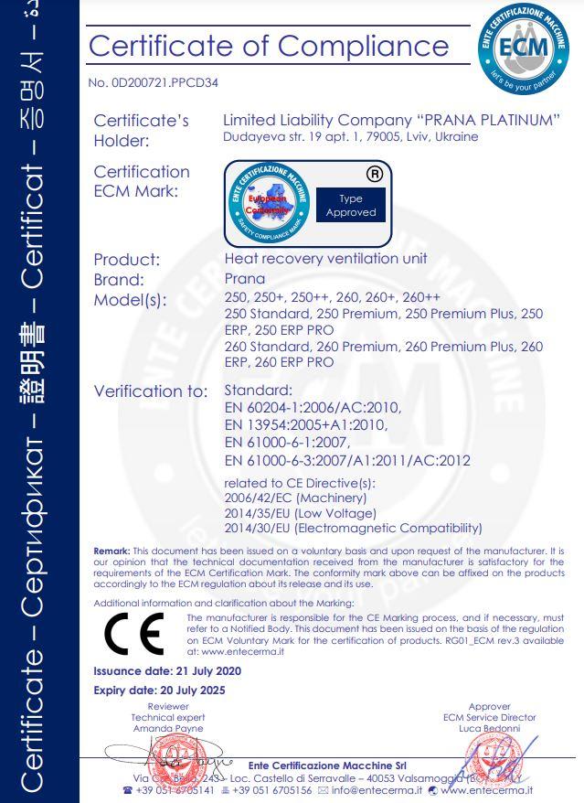certifikaty PRANA